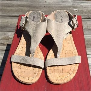 Donald J Pliner cork wedge T-strap thong sandals